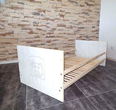 Cuna Cuna Set Completo Cama Infantil 60x120 Convertible Blanco Grabado Oferta 6