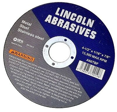 """100 Pack 4-1/2"""" 1/16"""" Cut-off Wheels 4.5 Cutting Discs Stainless Steel & Metal 4"""