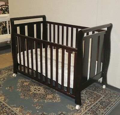Sleigh Cot Drawer Change Table Mattress Pad Crib Baby Bed Chest White Walnut