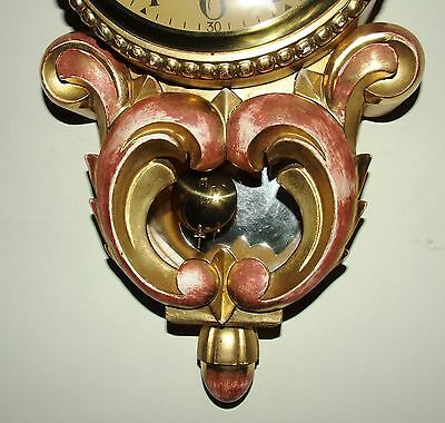 Antique Style Cartel Wall Clock Pink & Gilt Decorative Finish Shabby Chic 6