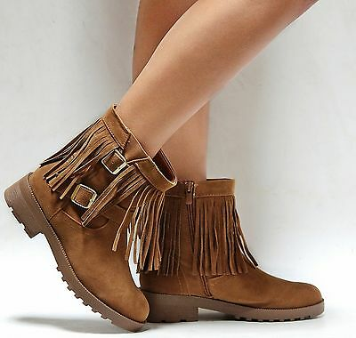 genuine shoes recognized brands how to buy NEW WOMEN FDAY Black Tan Fringe Vegan Suede Western Ankle ...