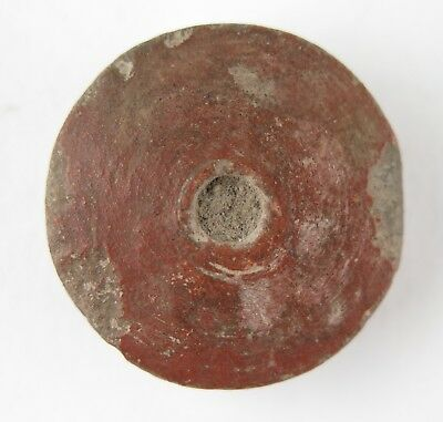 Pre-Columbian Mayan clay spindle whorl / button. Provenance 3