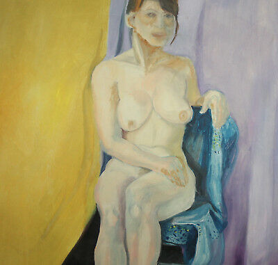 Large Expressionist nude woman portrait vintage oil painting 11