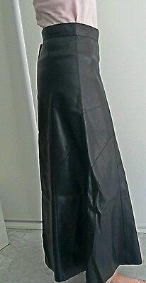 Mi Zara Simili Évasée Taille T Noir Cuir Jupe Longue S Haute QhrdtsCx