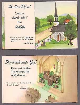 Group of 6 Sunday school NOS unused postcards 1940's 3