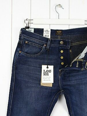 ec45aa77 ... NEW LEE 101 TAPERED JEANS 11 3/4 oz SPECKLED DENIM SLIM FIT BLUE _