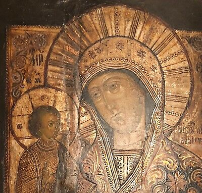 19th c Antique RUSSIAN ICON Mother of God Religious Orthodox Oil Painting Wood 11
