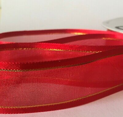 Plain & With Gold Stripe * Woven Edge Organza Sheer Chiffon Wedding Ribbon CUT 8