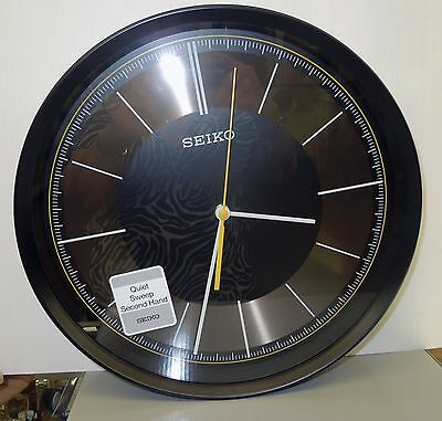 "Seiko Black Case 12"" In Diameter  Wall Clock W/ Quiet Sweep Second  Qxa612Klh 2"