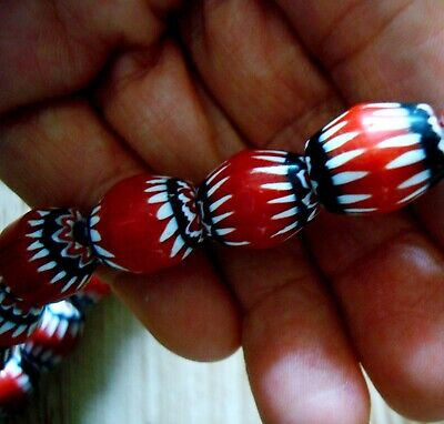 """21"""" 37 Bead Antique Phoenician Blue, White, Red Six Layer Chevron Glass Necklace 7"""