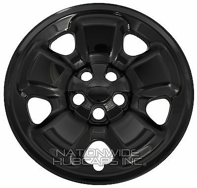 4 Black 2014 2017 Jeep Cherokee Sport 17 Wheel Skins Hub Caps Full