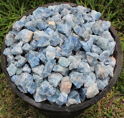 Bulk Wholesale Lot: Rough Blue Calcite 2 lb Crystal Healing Chakra Raw Chunks 9