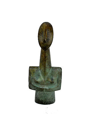 Female Cycladic aged half oval head figurine Bronze sculpture artifact