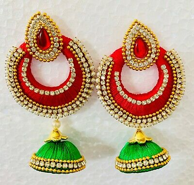 Indian Designer silk thread jewellery wedding Earrings Lime Green heavy Jhumka