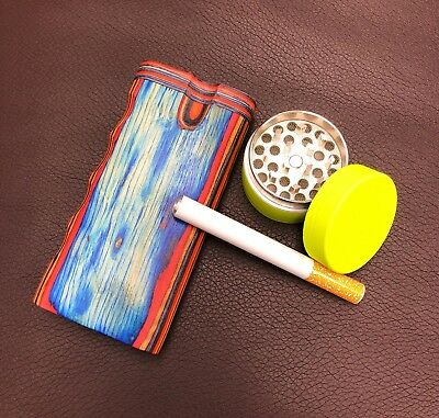 "4"" Colorful Wood Dugout Neon Grinder With Pipe Set EZ Grip Tobacco Herb USA Sell 3"