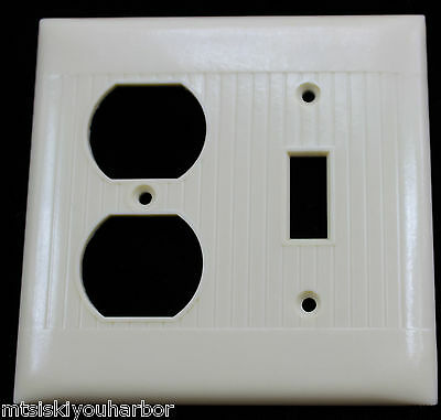 Vtg Art Deco Ivory Bakelite Uniline Wall Switch Cover Outlet Receptacle Plate 2