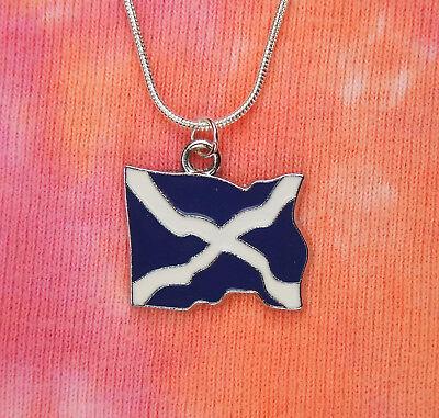 Flag of Scotland Necklace, Scottish Saltire metal Enamel Charm Pendant