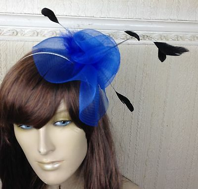 blue black feather hair headband fascinator millinery wedding hat ascot race 1 3