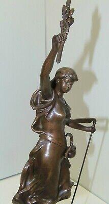 GARNITURE de CHEMINEE PENDULE ART NOUVEAU Sujet Régule patine Bronze AGRICULTURE 7
