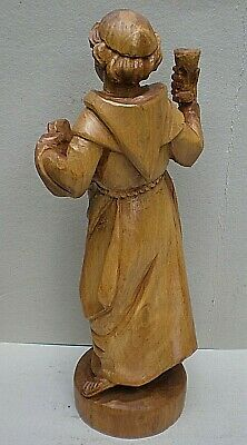 Very Large Black Forest Swiss Carving of a Monk with Raised Glass 5