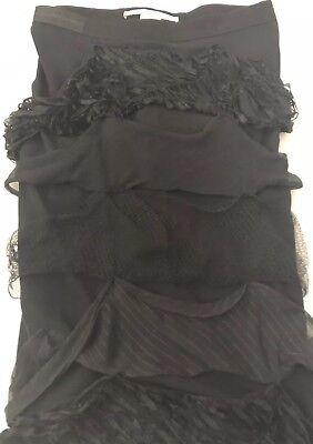 STELLA McCARTNEY Silk Pencil SKIRT Womens size 40 Black Above Knee Fringe 2