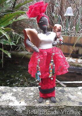 Antique tassel EARRINGS Venetian Bohemian vintage beads LONG .925 colourful Afro 4
