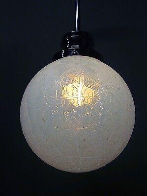 """Vintage Antique Art Deco Chrome Pendant Light Opal Crackle 12"""" Shade 41"""" Long A 6"""