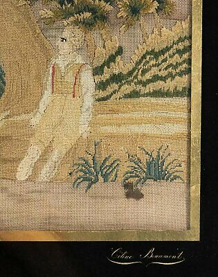 C. 1800 Antique French Silk Petitpoint Needlework Tapestry, In Frame, Signed 6