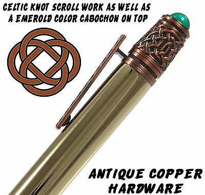 Celtic Ballpoint Pen with Raw Brass Body & Antique Copper Hardware / #101 6