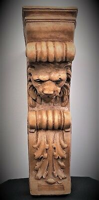 Pair Narrow Lion Face Scroll Corbel Brackets Architectural Accent Wood Stained 3