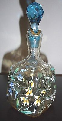 Rare 1880's New England Glass Hand-blown, Hand-painted Cordial Decanter & 2 Cups 6