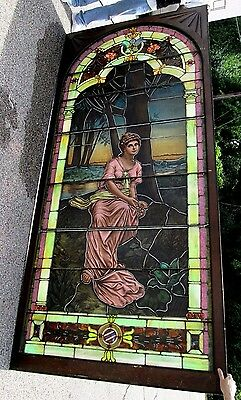 10.5' Monumental Jeweled Antique Stained Glass Portrait Window  Ny Estate # 1 3