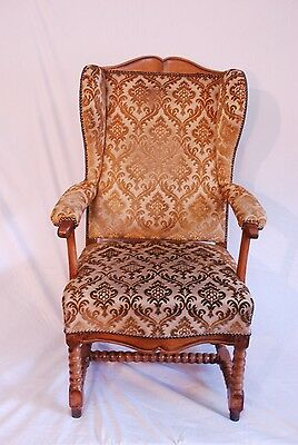 Antique Oak & walnut  winged Hall Occasional Dining Desk Armchair Chair 2