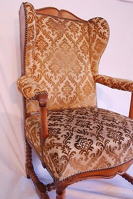 Antique Oak & walnut  winged Hall Occasional Dining Desk Armchair Chair 10