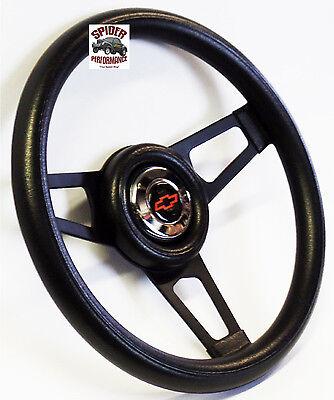 """1953-1954 Chevy Bel Air 150 210 steering wheel BOWTIE 13 3/4"""" BLACK SPOKE 6"""