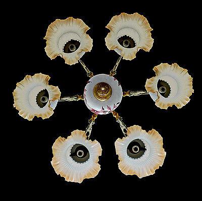 Fabulous Antique 1930 Art Deco/Lalique Art-Glass Style/Porcelain/Gilt Chandelier 6