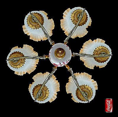 Fabulous Antique 1930 Art Deco/Lalique Art-Glass Style/Porcelain/Gilt Chandelier 8