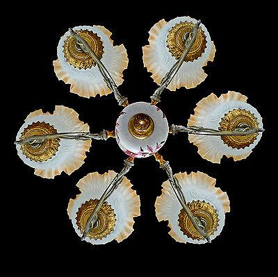 Fabulous Antique 1930 Art Deco/Lalique Art-Glass Style/Porcelain/Gilt Chandelier 7