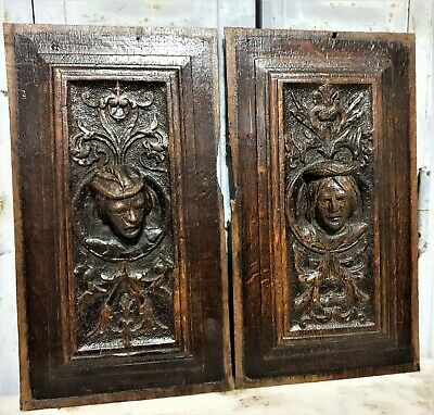 16 th Pair renaissance portrait panel Antique french oak architectural salvage 7