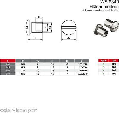 10 Edelstahl Hülsenmuttern M8x20 mm WS 9340 Muttern VA