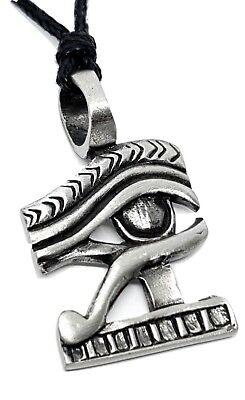 Pewter Egyptian EYE OF HORUS Pendant Adjustable Black Cord Necklace Nickel Free