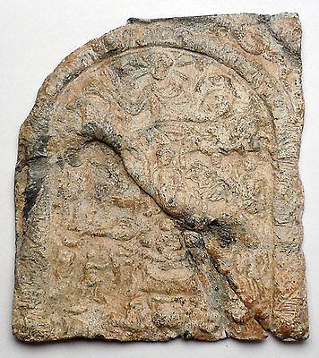 Ancient Roman Lead Plaque Sol Invictus Dioscuri Altar Dolphin Horse i44983 8