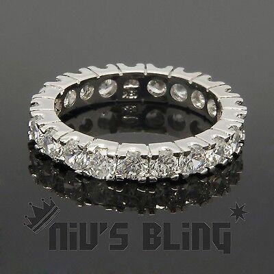 18K White Gold Lab Diamond Wedding Engagement Band Eternity Women Promise Ring 6