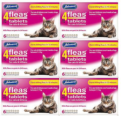 Johnsons 4 Fleas Cat Flea Tablets 6 Tablets Bulk Buy Of 6 Packs 3