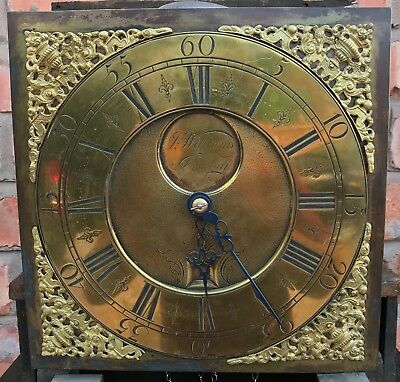 Antique Rare Flat Topped Longcase Grandfather Square Brass Dial 30 Hour 7