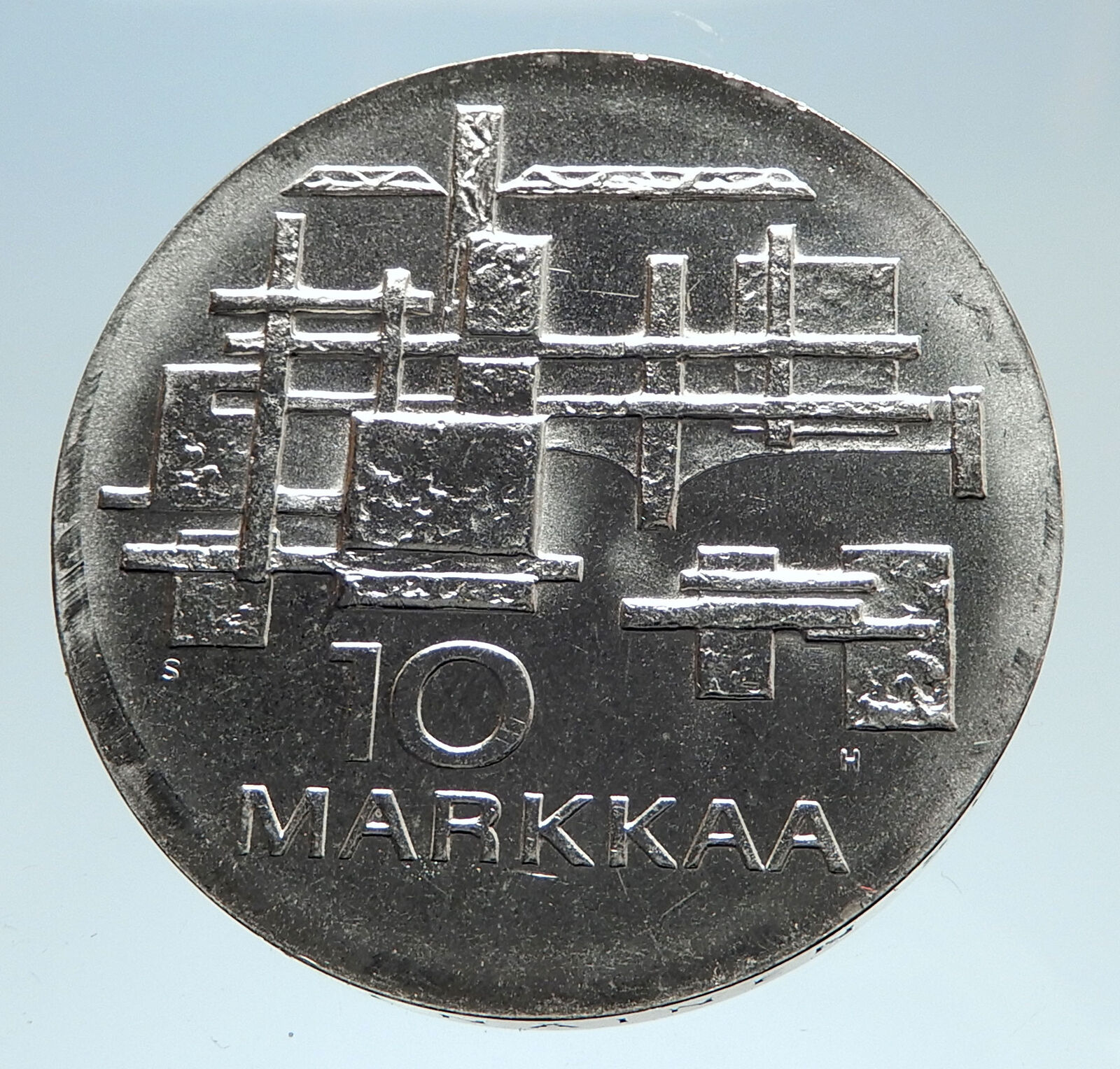 1967 FINLAND Geese Flying 50Y Independence Genuine Silver 10 Markkaa Coin i75150 2