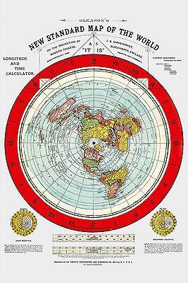 Flat Earth Maps SET: Gleason's Standard 24x36 & Square Stationary Earth 24x18