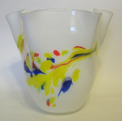Studio Art Cased Handkerchief Vase Glass Hand Blown White Multicolor 8 to 9 Inch 4