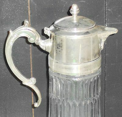 "Antique Silver ""Italy EP Zinc"" 14in Wine Claret / Water Pitcher w Hot/Cold tube 4"