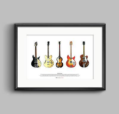 The Beatles' Guitars ART POSTER A2 size